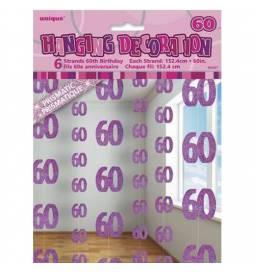 Viseča dekoracija za 60 rojstni dan, pink