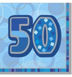 Serviete za 50 rojstni dan, Bleščeča Modri