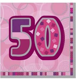 Serviete za 50 rojstni dan, Bleščeča Pink