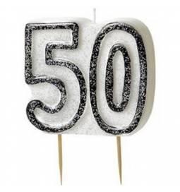 Svečka 50. rojstni dan, Črna z bleščicami