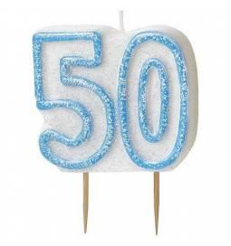 Svečka 50. rojstni dan, Modra z bleščicami