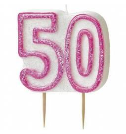 Svečka 50. rojstni dan, Pink z bleščicami