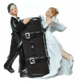 Poročni hranilnik Par s kovčkom