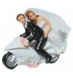 Poročni kipec Par na motorju 1
