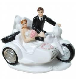 Poročni kipec Par na motorju