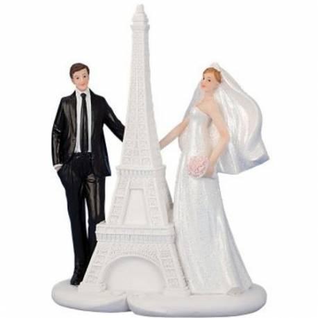 Poročni kipec Par na motorju s prikolico