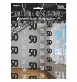 Viseča dekoracija za 50. rojstni dan, srebrno črna