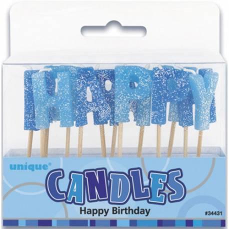 Bleščeče svečke Happy Birthday, modre