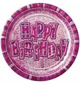 Krožniki Happy Birthday, pink z bleščicami