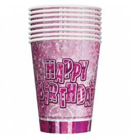 Kozarčki Happy Birthday, Pink z bleščicami