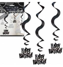 Viseča dekoracija Happy Birthday, srebrno črna
