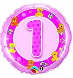 Folija balon 1. rojstni dan, Pink Medvedki