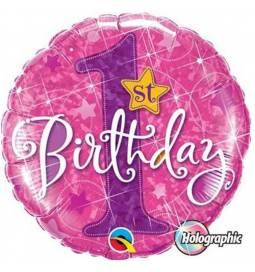 Folija balon 1. rojstni dan, Pink Stars