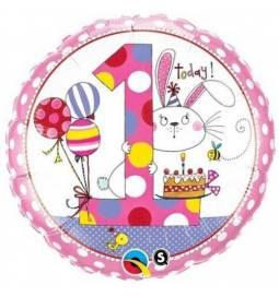 Folija balon 1. rojstni dan, Pink Zajček