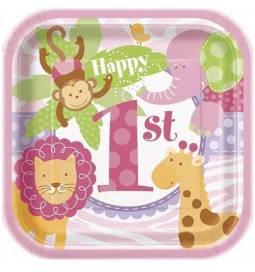 Krožniki za 1. rojstni dan 18 cm, Pink Safari
