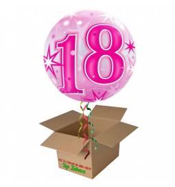 Napihnjen Bubble balon Stars 21 let, pink