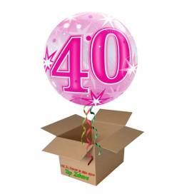 Napihnjen Bubble balon Stars 18 let, pink