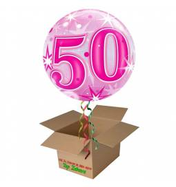 Napihnjen Bubble balon Stars 40 let, pink