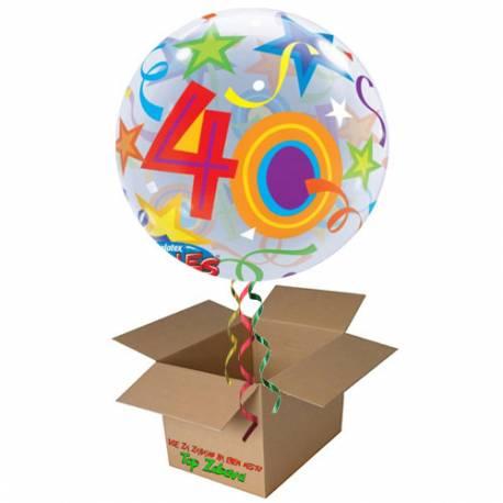 Napihnjen Bubble balon Stars 40 let, modri