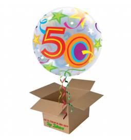 Napihnjen Bubble balon Stars 50 let, modri