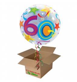 Napihnjen Bubble balon Stars 60 let, modri