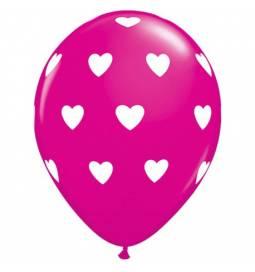 Pink baloni z belimi srci 10/1