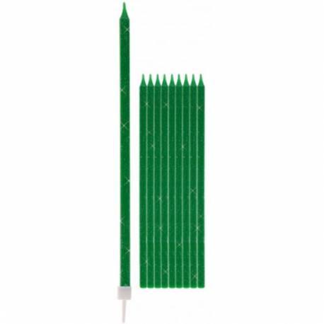 Svečke z bleščicami v svetlo zeleni barvi