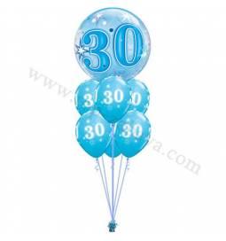 Dekoracija iz balonov 30 let, bubble pink
