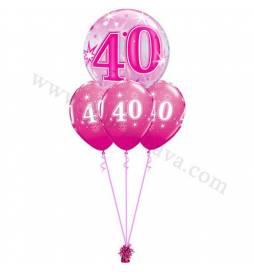 Dekoracija iz balonov za 30 let, bubble pink
