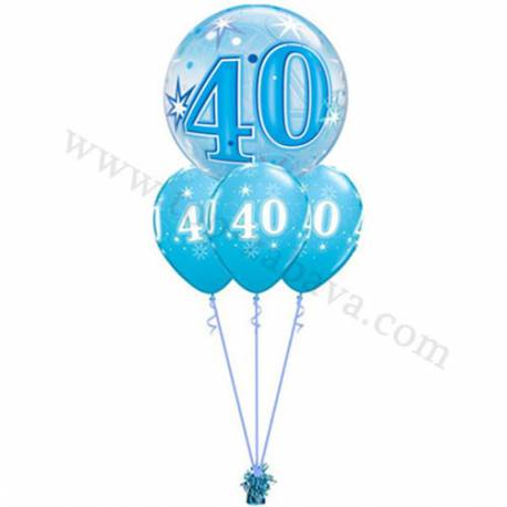 Dekoracija iz balonov za 40 let, bubble pink