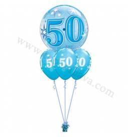 Dekoracija iz balonov za 50 let, bubble modra