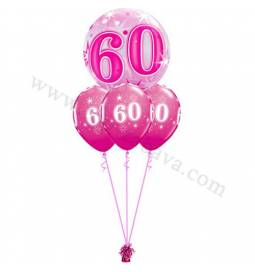 Dekoracija iz balonov za 50 let, bubble pink