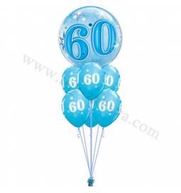 Dekoracija iz balonov 60 let, bubble pink