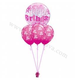 Dekoracija iz balonov za 60 let, bubble pink