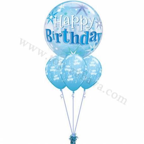 Dekoracija iz balonov Happy Birthday pink