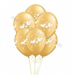 Poročni balonski šopek, Dva srca, Pearl White 10/1
