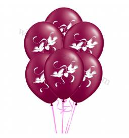 Poročni balonski šopek, Goloba, Burgundy 10/1