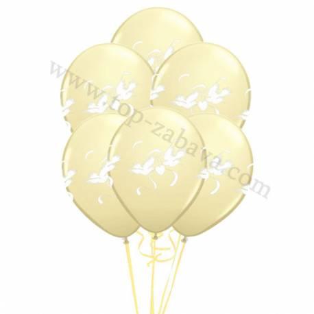 Poročni balonski šopek, Goloba, Pearl Ivory 10/1